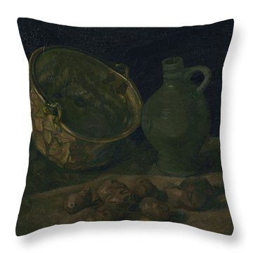 Still Life With Brass Cauldron And Jug, 1885 Throw Pillow