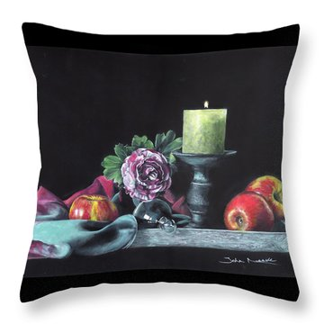 Throw Pillow featuring the painting Still Life With Candle by John Neeve