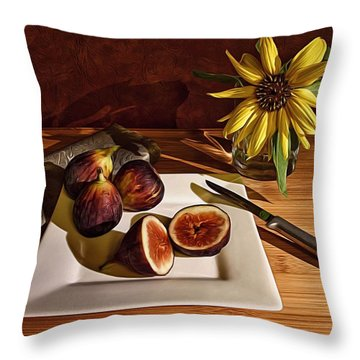 Still Life With Flower And Figs Throw Pillow