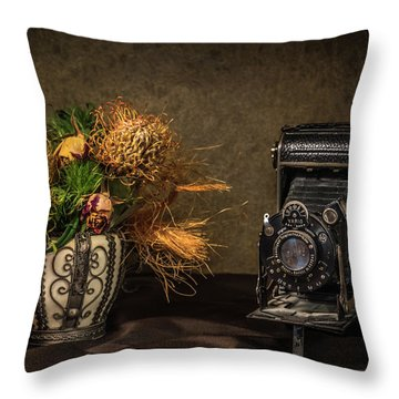 Still Life With Flowers And Camera Throw Pillow