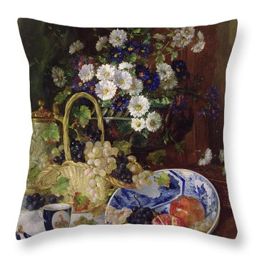Still Life With Flowers And Fruit Throw Pillow