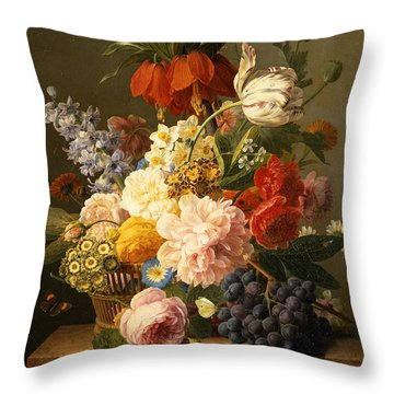 Still Life With Flowers And Fruit Throw Pillow by Jan Frans van Dael