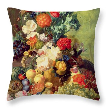 Still Life With Flowers And Fruit Throw Pillow by Jan van Os