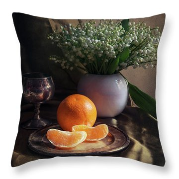 Throw Pillow featuring the photograph Still Life With Fresh Flowers And Tangerines by Jaroslaw Blaminsky