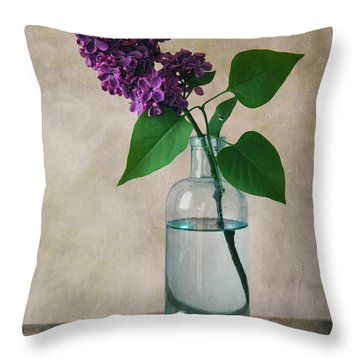 Throw Pillow featuring the photograph Still Life With Fresh Lilac by Jaroslaw Blaminsky