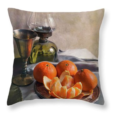 Throw Pillow featuring the photograph Still Life With Fresh Tangerines And Oil Lamp by Jaroslaw Blaminsky