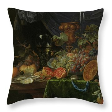 Still Life With Fruit And Oysters   Throw Pillow