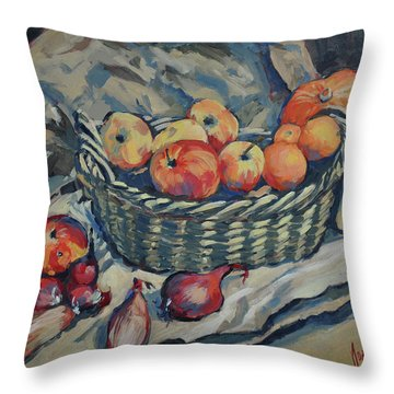 Still Life With Fruit And Vegetables Throw Pillow