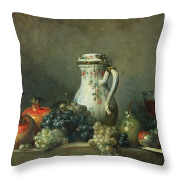 Still Life With Grapes And Pomegranates Throw Pillow by Jean-Baptiste Simeon Chardin