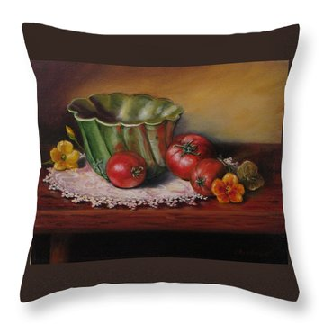 Still Life With Green Bowl Throw Pillow