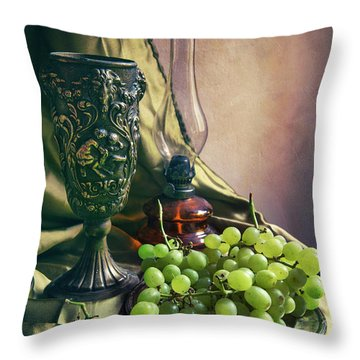 Throw Pillow featuring the photograph Still Life With Green Grapes by Jaroslaw Blaminsky