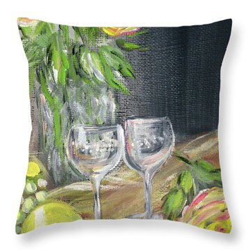 Still Life With Lemons, Roses  And Grapes. Painting Throw Pillow