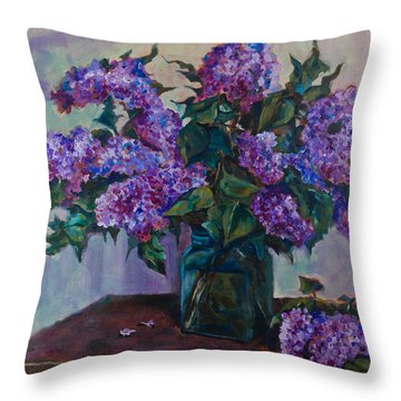 Still Life With Lilac  Throw Pillow by Maxim Komissarchik