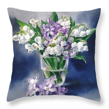 Still Life With Lilacs And Lilies Of The Valley Throw Pillow by Sergey Lukashin
