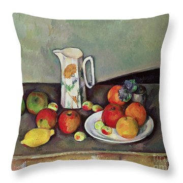 Still Life With Milkjug And Fruit Throw Pillow by Paul Cezanne