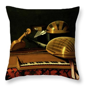 Still Life With Musical Instruments And Books Throw Pillow