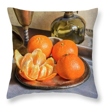 Throw Pillow featuring the photograph Still Life With Oil Lamp And Fresh Tangerines by Jaroslaw Blaminsky