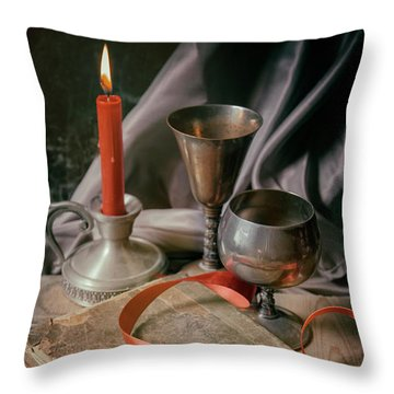Throw Pillow featuring the photograph Still Life With Old Book And Metal Dishes by Jaroslaw Blaminsky