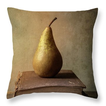 Throw Pillow featuring the photograph Still Life With Old Books And Fresh Pear by Jaroslaw Blaminsky