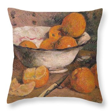 Still Life With Oranges Throw Pillow by Paul Gauguin