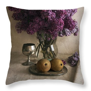 Throw Pillow featuring the photograph Still Life With Pears And Fresh Lilac by Jaroslaw Blaminsky