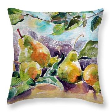 Still Life With Pears Throw Pillow by Kovacs Anna Brigitta