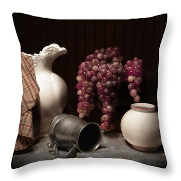 Still Life With Pitcher And Grapes Throw Pillow by Tom Mc Nemar