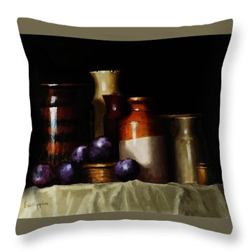 Still Life With Plums Throw Pillow by Barry Williamson