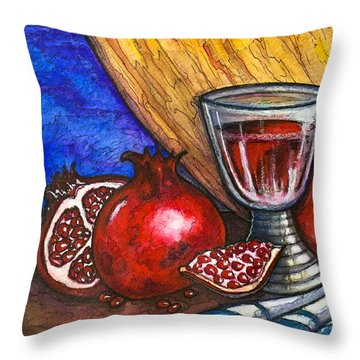 Throw Pillow featuring the painting Still Life With Pomegranate And Goblet 1 by Rae Chichilnitsky