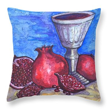 Throw Pillow featuring the painting Still Life With Pomegranate And Goblet 2 by Rae Chichilnitsky