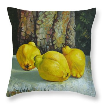 Throw Pillow featuring the painting Still Life With Quinces by Elena Oleniuc