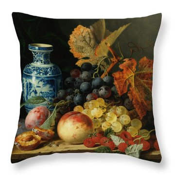 Still Life With Rasberries Throw Pillow by Edward Ladell