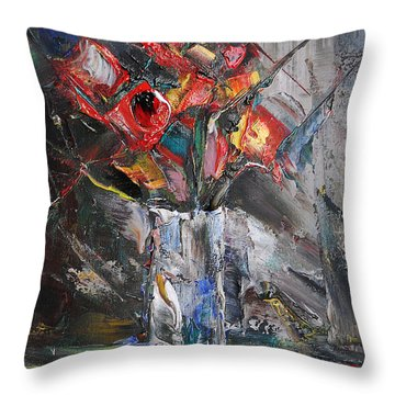 Still Life With Red Flowers And Lemon Throw Pillow