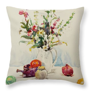 Still Life With Pomegranate Throw Pillow by Becky Kim