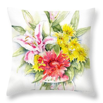 Still Life With Red Zinnia Throw Pillow