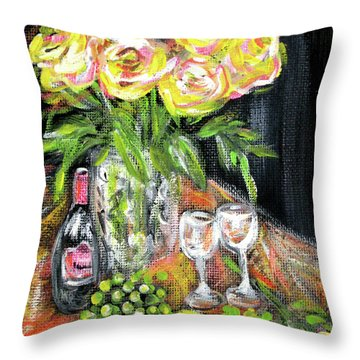 Still Life With Roses, Fruits, Wine. Painting Throw Pillow