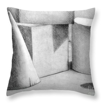 Still Life With Shapes Throw Pillow by Nancy Mueller