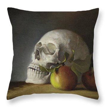 Throw Pillow featuring the painting Still Life With Skull by Joe Winkler