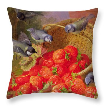 Still Life With Strawberries And Bluetits Throw Pillow