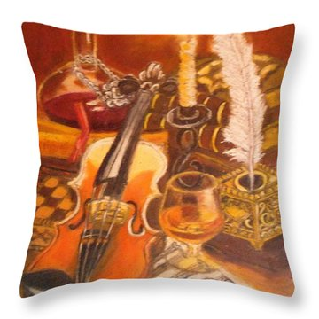 Still Life With Violin And Candle Throw Pillow
