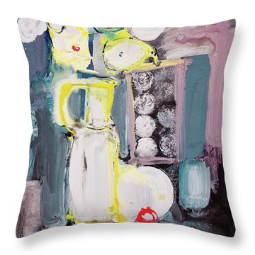 Still Life With White Flowers And Black Table Throw Pillow