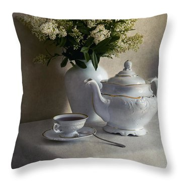 Still Life With White Tea Set And Bouquet Of White Flowers Throw Pillow