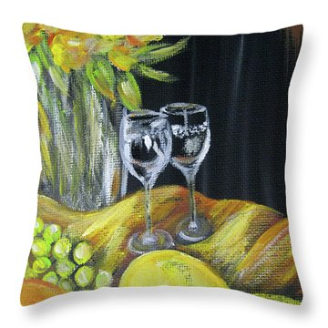 Still Life With Wine Glasses, Roses And Fruit. Painting Throw Pillow