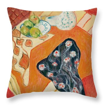 Still Live With Red Throw Pillow by Pierre Van Dijk