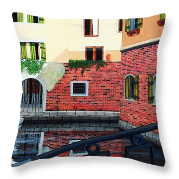 Still, On The Venice Canal, Prints From The Original Oil Painting Throw Pillow