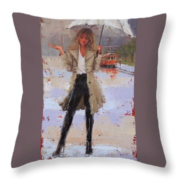 Still Raining Throw Pillow by Laura Lee Zanghetti