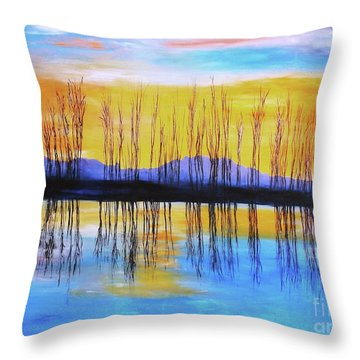 Throw Pillow featuring the painting Still Waters From The Water Series  by Donna Dixon