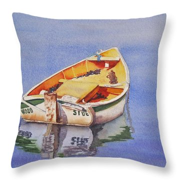 Throw Pillow featuring the painting Still Waters by Judy Mercer
