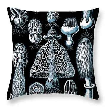 Throw Pillow featuring the drawing Stinkhorn Mushrooms Vintage Illustration by Edward Fielding