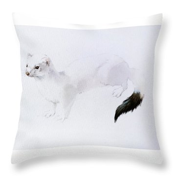 Stoat Watercolor Throw Pillow
